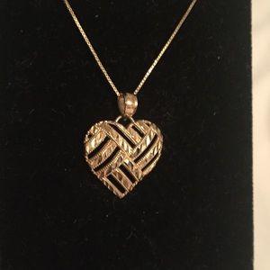Jewelry - 10k Yellow Gold Diamond Cut Heart Pendant